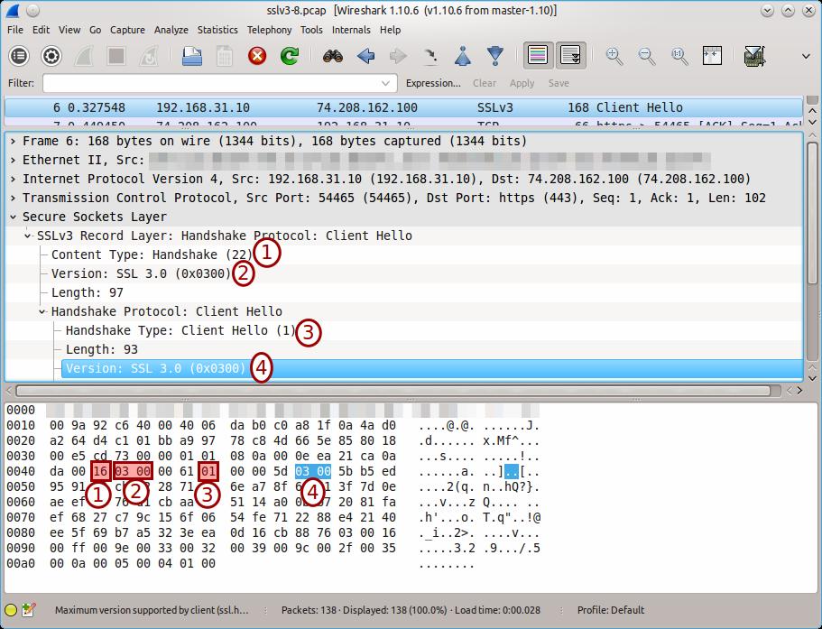 SSLv3 handshake in Wireshark