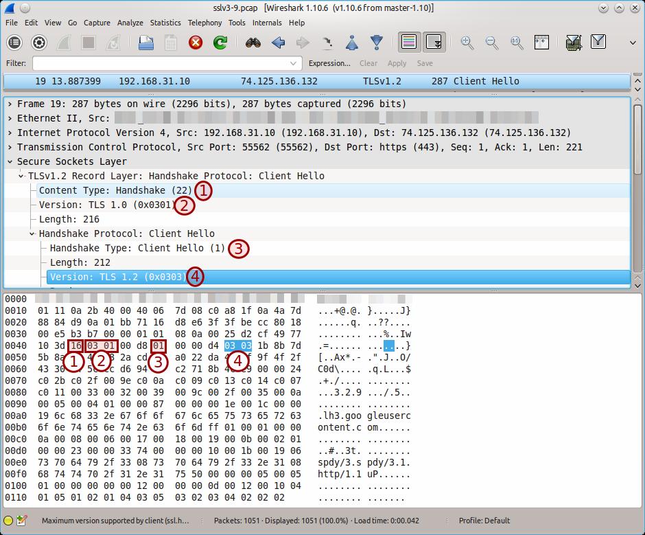 TLSv1.2 handshake in Wireshark
