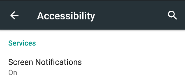 Accessibility service enabled in settings